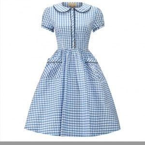 Lindy Bop Dorothy Gingham Plaid Fit Flare Dress